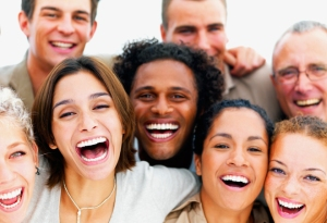 Closeup portrait of a group of business people laughing